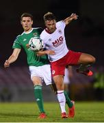 2 August 2019; Garry Buckley of Cork City in action against Conor Clifford of St Patrick's Athletic during the SSE Airtricity League Premier Division match between Cork City and St Patrick's Athletic at Turners Cross in Cork. Photo by Eóin Noonan/Sportsfile