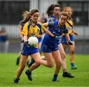 3 August 2019; Emma Kildea of Roscommon in action against Dearbhaile Rooney of Longford during the All-Ireland Ladies Football Minor B Final match between Longford and Roscommon at Duggan Park in Ballinasloe, Galway. Photo by Ray McManus/Sportsfile