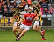 3 August 2019; Sean O'Leary Hayes of Cork in action against Niall Brassil and Eoin Cody of Kilkenny during the Bord Gáis GAA Hurling All-Ireland U20 Championship Semi-Final match between Kilkenny and Cork at O'Moore Park in Portlaoise, Laois. Photo by Matt Browne/Sportsfile