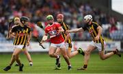 3 August 2019; Brian Roche of Cork in action against Conor Heary, left, and Eoin Cody of Kilkenny during the Bord Gáis GAA Hurling All-Ireland U20 Championship Semi-Final match between Kilkenny and Cork at O'Moore Park in Portlaoise, Laois. Photo by Harry Murphy/Sportsfile