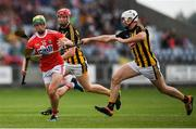 3 August 2019; Brian Roche of Cork in action against Eoin Cody of Kilkenny during the Bord Gáis GAA Hurling All-Ireland U20 Championship Semi-Final match between Kilkenny and Cork at O'Moore Park in Portlaoise, Laois. Photo by Harry Murphy/Sportsfile