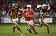 3 August 2019; Eoin Roche of Cork in action against Eoin Cody, left, and Seán Ryan of Kilkenny during the Bord Gáis GAA Hurling All-Ireland U20 Championship Semi-Final match between Kilkenny and Cork at O'Moore Park in Portlaoise, Laois. Photo by Harry Murphy/Sportsfile
