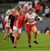 3 August 2019; Aoibhinn McHugh of Tyrone in action against Maire O'Callaghan of Cork during the TG4 All-Ireland Ladies Football Senior Championship Quarter-Final match between Cork and Tyrone at Duggan Park in Ballinasloe, Galway. Photo by Ray McManus/Sportsfile