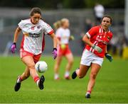 3 August 2019; Chloe McCaffrey of Tyrone in action against Orlagh Farmer of Cork during the TG4 All-Ireland Ladies Football Senior Championship Quarter-Final match between Cork and Tyrone at Duggan Park in Ballinasloe, Galway. Photo by Ray McManus/Sportsfile