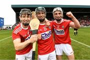 3 August 2019; Cork players from left James Copps, Barry Murphy and Tommy O'Connell celebrate after the Bord Gáis GAA Hurling All-Ireland U20 Championship Semi-Final match between Kilkenny and Cork at O'Moore Park in Portlaoise, Laois. Photo by Matt Browne/Sportsfile