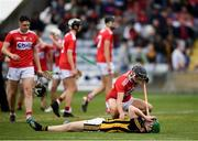 3 August 2019; Evan Shefflin of Kilkenny is consoled by Simon Kennefick of Cork following the Bord Gáis GAA Hurling All-Ireland U20 Championship Semi-Final match between Kilkenny and Cork at O'Moore Park in Portlaoise, Laois. Photo by Harry Murphy/Sportsfile