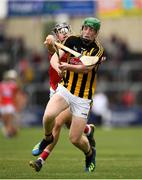 3 August 2019; Evan Shefflin of Kilkenny in action against Simon Kennefick of Cork during the Bord Gáis GAA Hurling All-Ireland U20 Championship Semi-Final match between Kilkenny and Cork at O'Moore Park in Portlaoise, Laois. Photo by Harry Murphy/Sportsfile