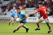 3 August 2019; Ross McGarry of Dublin in action against Michael Mahoney of Cork during the EirGrid GAA Football All-Ireland U20 Championship Final match between Cork and Dublin at O'Moore Park in Portlaoise, Laois. Photo by Matt Browne/Sportsfile