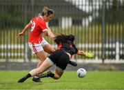 3 August 2019; Doireannn O'Sullivan of Cork shoots past the Tyrone goalkeeper Shannon Lynch to score her side's 5th goal during the TG4 All-Ireland Ladies Football Senior Championship Quarter-Final match between Cork and Tyrone at Duggan Park in Ballinasloe, Galway. Photo by Ray McManus/Sportsfile