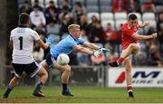 3 August 2019; Mark Cronin of Cork shoots to score his side's second goal during the EirGrid GAA Football All-Ireland U20 Championship Final match between Cork and Dublin at O'Moore Park in Portlaoise, Laois. Photo by Harry Murphy/Sportsfile