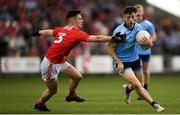 3 August 2019; Ciarán Archer of Dublin in action against Maurice Shanley of Cork  during the EirGrid GAA Football All-Ireland U20 Championship Final match between Cork and Dublin at O'Moore Park in Portlaoise, Laois. Photo by Harry Murphy/Sportsfile