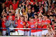3 August 2019; Cork captain Peter O'Driscoll and his team-mates celebrate with the cup following the EirGrid GAA Football All-Ireland U20 Championship Final match between Cork and Dublin at O'Moore Park in Portlaoise, Laois. Photo by Harry Murphy/Sportsfile