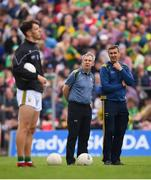 3 August 2019; Kerry manager Peter Keane and selector Maurice Fitzgerald, right, atch on alongside David Clifford, left, prior to the GAA Football All-Ireland Senior Championship Quarter-Final Group 1 Phase 3 match between Meath and Kerry at Páirc Tailteann in Navan, Meath. Photo by Stephen McCarthy/Sportsfile