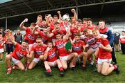 3 August 2019; Cork captain Peter O'Driscoll lifts the cup as his team-mates celebrate after the EirGrid GAA Football All-Ireland U20 Championship Final match between Cork and Dublin at O'Moore Park in  Portlaoise, Laois. Photo by Matt Browne/Sportsfile
