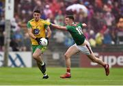3 August 2019; Daire Ó Baoill of Donegal in action against Fionn McDonagh of Mayo during the GAA Football All-Ireland Senior Championship Quarter-Final Group 1 Phase 3 match between Mayo and Donegal at Elvery's MacHale Park in Castlebar, Mayo. Photo by Daire Brennan/Sportsfile
