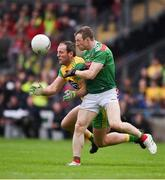 3 August 2019; Michael Murphy of Donegal in action against Colm Boyle of Mayo during the GAA Football All-Ireland Senior Championship Quarter-Final Group 1 Phase 3 match between Mayo and Donegal at Elvery's MacHale Park in Castlebar, Mayo. Photo by Daire Brennan/Sportsfile