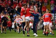 3 August 2019; Cork players celebrate at the full-time whistle of the EirGrid GAA Football All-Ireland U20 Championship Final match between Cork and Dublin at O'Moore Park in Portlaoise, Laois. Photo by Harry Murphy/Sportsfile