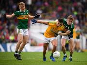 3 August 2019; Gavin McCoy of Meath in action against Killian Spillane, left, and Gavin White of Kerry during the GAA Football All-Ireland Senior Championship Quarter-Final Group 1 Phase 3 match between Meath and Kerry at Páirc Tailteann in Navan, Meath. Photo by Stephen McCarthy/Sportsfile