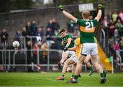 3 August 2019; Seán O'Shea of Kerry shoots to score his side's second goal during the GAA Football All-Ireland Senior Championship Quarter-Final Group 1 Phase 3 match between Meath and Kerry at Páirc Tailteann in Navan, Meath. Photo by Stephen McCarthy/Sportsfile