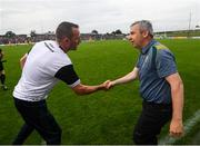 3 August 2019; Kerry manager Peter Keane and Meath manager Andy McEntee, left, following the GAA Football All-Ireland Senior Championship Quarter-Final Group 1 Phase 3 match between Meath and Kerry at Páirc Tailteann in Navan, Meath. Photo by Stephen McCarthy/Sportsfile