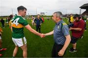 3 August 2019; Kerry manager Peter Keane and Jack Barry following the GAA Football All-Ireland Senior Championship Quarter-Final Group 1 Phase 3 match between Meath and Kerry at Páirc Tailteann in Navan, Meath. Photo by Stephen McCarthy/Sportsfile
