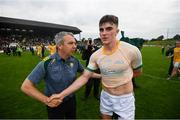 3 August 2019; Kerry manager Peter Keane and Seán O'Shea following the GAA Football All-Ireland Senior Championship Quarter-Final Group 1 Phase 3 match between Meath and Kerry at Páirc Tailteann in Navan, Meath. Photo by Stephen McCarthy/Sportsfile