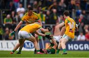 3 August 2019; Jack Sherwood of Kerry in action against Meath players, from left, Ross Ryan, Bryan Menton and Bryan McMahon during the GAA Football All-Ireland Senior Championship Quarter-Final Group 1 Phase 3 match between Meath and Kerry at Páirc Tailteann in Navan, Meath. Photo by Stephen McCarthy/Sportsfile
