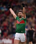 3 August 2019; Aidan O'Shea of Mayo celebrates at the final whistle after the GAA Football All-Ireland Senior Championship Quarter-Final Group 1 Phase 3 match between Mayo and Donegal at Elvery's MacHale Park in Castlebar, Mayo. Photo by Daire Brennan/Sportsfile