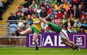 3 August 2019; Jamie Brennan of Donegal in action against Brendan Harrison of Mayo during the GAA Football All-Ireland Senior Championship Quarter-Final Group 1 Phase 3 match between Mayo and Donegal at Elvery's MacHale Park in Castlebar, Mayo. Photo by Daire Brennan/Sportsfile