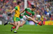 3 August 2019; Jason Doherty of Mayo is tackled by Daire Ó Baoill of Donegal during the GAA Football All-Ireland Senior Championship Quarter-Final Group 1 Phase 3 match between Mayo and Donegal at Elvery's MacHale Park in Castlebar, Mayo. Photo by Brendan Moran/Sportsfile