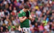 3 August 2019; Lee Keegan of Mayo reacts to a missed shot during the GAA Football All-Ireland Senior Championship Quarter-Final Group 1 Phase 3 match between Mayo and Donegal at Elvery's MacHale Park in Castlebar, Mayo. Photo by Daire Brennan/Sportsfile