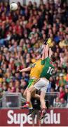 3 August 2019; Hugh McFadden of Donegal in action against Fionn McDonagh of Mayo during the GAA Football All-Ireland Senior Championship Quarter-Final Group 1 Phase 3 match between Mayo and Donegal at Elvery's MacHale Park in Castlebar, Mayo. Photo by Daire Brennan/Sportsfile