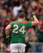 3 August 2019; Andy Moran of Mayo celebrates a late score during the GAA Football All-Ireland Senior Championship Quarter-Final Group 1 Phase 3 match between Mayo and Donegal at Elvery's MacHale Park in Castlebar, Mayo. Photo by Daire Brennan/Sportsfile