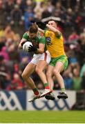 3 August 2019; Aidan O'Shea of Mayo in action against Jason McGee of Donegal during the GAA Football All-Ireland Senior Championship Quarter-Final Group 1 Phase 3 match between Mayo and Donegal at Elvery's MacHale Park in Castlebar, Mayo. Photo by Daire Brennan/Sportsfile