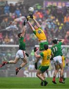 3 August 2019; Ciarán Thompson of Donegal in action against Eoin O'Donoghue of Mayo during the GAA Football All-Ireland Senior Championship Quarter-Final Group 1 Phase 3 match between Mayo and Donegal at Elvery's MacHale Park in Castlebar, Mayo. Photo by Brendan Moran/Sportsfile