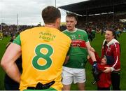 3 August 2019; Matthew Ruane of Mayo shakes hands with Hugh McFadden of Donegal after the GAA Football All-Ireland Senior Championship Quarter-Final Group 1 Phase 3 match between Mayo and Donegal at Elvery's MacHale Park in Castlebar, Mayo. Photo by Daire Brennan/Sportsfile