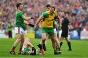 3 August 2019; Michael Murphy of Donegal remonstrates with Aidan O'Shea of Mayo as he lies injured holding his face during the GAA Football All-Ireland Senior Championship Quarter-Final Group 1 Phase 3 match between Mayo and Donegal at Elvery's MacHale Park in Castlebar, Mayo. Photo by Brendan Moran/Sportsfile