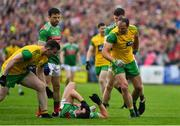3 August 2019; Patrick McBrearty, left, and Michael Murphy of Donegal remonstrate with Aidan O'Shea of Mayo as he lies injured holding his face during the GAA Football All-Ireland Senior Championship Quarter-Final Group 1 Phase 3 match between Mayo and Donegal at Elvery's MacHale Park in Castlebar, Mayo. Photo by Brendan Moran/Sportsfile
