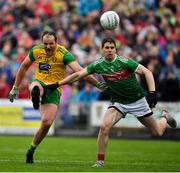 3 August 2019; Michael Murphy of Donegal in action against Lee Keegan of Mayo during the GAA Football All-Ireland Senior Championship Quarter-Final Group 1 Phase 3 match between Mayo and Donegal at Elvery's MacHale Park in Castlebar, Mayo. Photo by Brendan Moran/Sportsfile