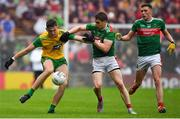3 August 2019; Michael Langan of Donegal is tackled by Lee Keegan of Mayo during the GAA Football All-Ireland Senior Championship Quarter-Final Group 1 Phase 3 match between Mayo and Donegal at Elvery's MacHale Park in Castlebar, Mayo. Photo by Brendan Moran/Sportsfile