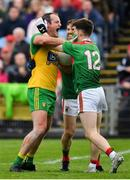 3 August 2019; Michael Murphy of Donegal in action against Chris Barrett and Fergal Boland of Mayo during the GAA Football All-Ireland Senior Championship Quarter-Final Group 1 Phase 3 match between Mayo and Donegal at Elvery's MacHale Park in Castlebar, Mayo. Photo by Brendan Moran/Sportsfile