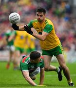3 August 2019; Daire Ó Baoill of Donegal is tackled by Fionn McDonagh of Mayo during the GAA Football All-Ireland Senior Championship Quarter-Final Group 1 Phase 3 match between Mayo and Donegal at Elvery's MacHale Park in Castlebar, Mayo. Photo by Brendan Moran/Sportsfile