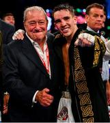3 August 2019; Michael Conlan celebrates victory with Bob Arum, CEO of TopRank, left, after defeating Diego Alberto Ruiz during their WBA and WBO Inter-Continental Featherweight title bout at Falls Park in Belfast. Photo by Ramsey Cardy/Sportsfile