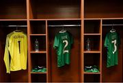 3 August 2019; The jersey's of Marie Hourihan, Heather Payne and Harriet Scott hang in the Republic of Ireland dressing room prior to the Women's International Friendly match between USA and Republic of Ireland at Rose Bowl in Pasadena, California, USA. Photo by Cody Glenn/Sportsfile