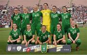 3 August 2019; The Republic of Ireland team, back row, form left, Niamh Farrelly, Diane Caldwell, Louise Quinn, Marie Hourihan, Jess Gargan and Niamh Fahey, with front row, Claire O'Riordan, Harriet Scott, Katie McCabe, Heather Payne and Amber Barrett prior to the Women's International Friendly match between USA and Republic of Ireland at Rose Bowl in Pasadena, California, USA. Photo by Cody Glenn/Sportsfile