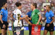 3 August 2019; Republic of Ireland captain Katie McCabe and USA captain Carli Lloyd shake hands behind the FIFA Women's World Cup prior to the Women's International Friendly match between USA and Republic of Ireland at Rose Bowl in Pasadena, California, USA. Photo by Cody Glenn/Sportsfile