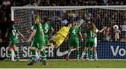 3 August 2019; Republic of Ireland goalkeeper Marie Hourihan fails to stop the shot of USA's Carli Lloyd, not pictured, for their thrid goal during the Women's International Friendly match between USA and Republic of Ireland at Rose Bowl in Pasadena, California, USA. Photo by Cody Glenn/Sportsfile