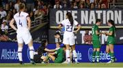 3 August 2019; Republic of Ireland captain Katie McCabe is attended to by medical staff during the Women's International Friendly match between USA and Republic of Ireland at Rose Bowl in Pasadena, California, USA. Photo by Cody Glenn/Sportsfile