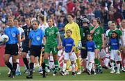 3 August 2019; Republic of Ireland captain Katie McCabe leads her side out prior to the Women's International Friendly match between USA and Republic of Ireland at Rose Bowl in Pasadena, California, USA. Photo by Cody Glenn/Sportsfile