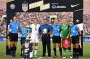3 August 2019; Republic of Ireland captain Katie McCabe and USA captain Carli Lloyd pose with match officials, including referee Ekaterina Koroleva, behind the FIFA Women's World Cup prior to the Women's International Friendly match between USA and Republic of Ireland at Rose Bowl in Pasadena, California, USA. Photo by Cody Glenn/Sportsfile